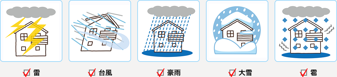 雷・台風・豪雨・大雪・雹