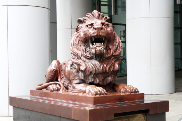 HSBC香港本社の前にあるライオン像