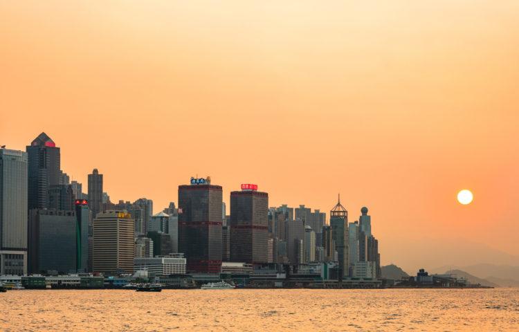 香港の日常的な夕焼け