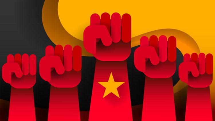社会主義国家の労働者団結イメージ図