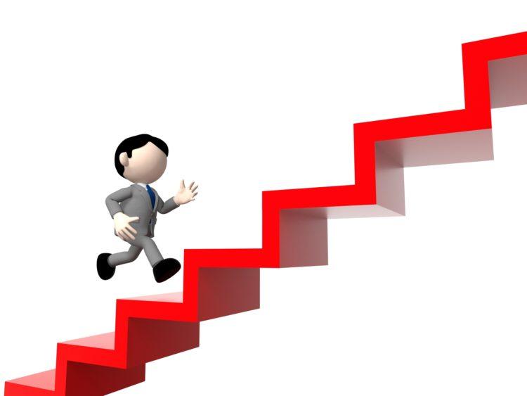 階段を登るサラリーマン