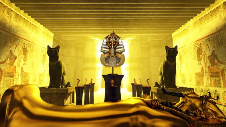 古代エジプトのツタンカーメン王の黄金のマスクと棺(ひつぎ)